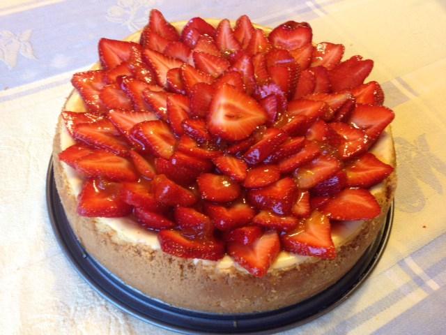 White Chocolate Cheesecake with Glazed Strawberries