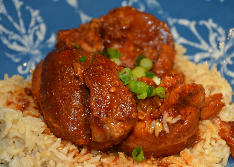 Instant Pot Spicy Chicken Thighs on Brown Jasmine Rice